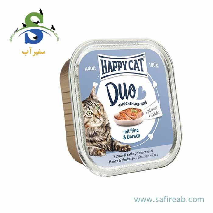 کنسرو گربه با طعم گوشت گوساله و ماهی کاد (۱۰۰ گرم) هپی کت  