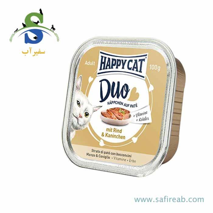 کنسرو گربه با طعم گوشت گوساله و خرگوش (۱۰۰ گرم) هپی کت  
