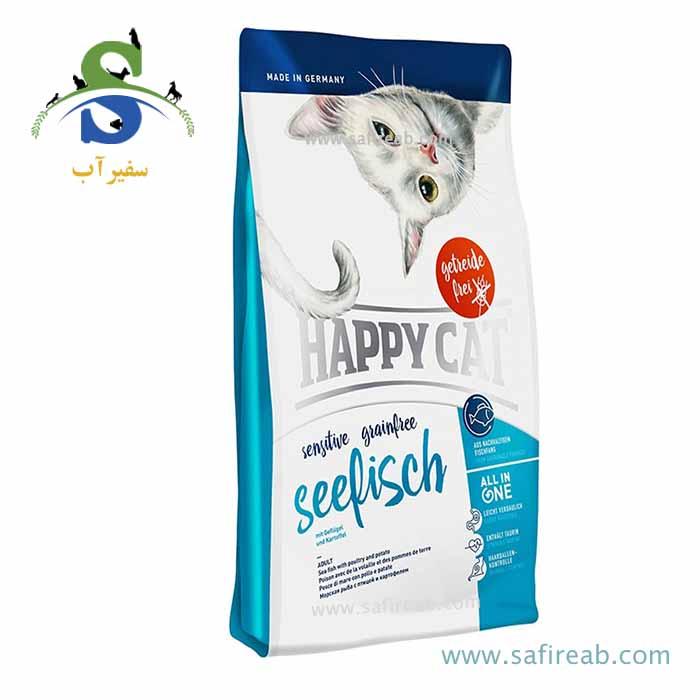 غذای خشک ارگانیک مخصوص گربه بد غذا حاوی ماهی دریا (۴ کیلوگرم) هپی کت  