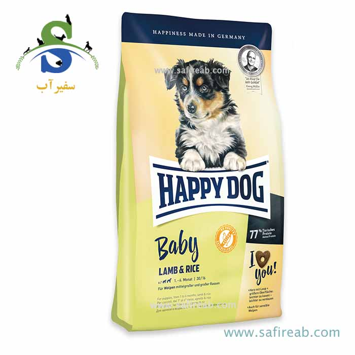 غذای خشک سوپر پرمیوم توله سگ حاوی گوشت بره و برنج (۱۸ کیلوگرم) هپی داگ  