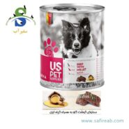 کنسرو سگ بالغ حاوی گوشت گاو با گیاه ارزن (۴۰۰ گرم) یو اس پت (Uspet