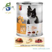 کنسرو گربه بالغ حاوی گوشت بوقلمون و مرغ (۴۰۰ گرم) یو اس پت (Uspet Cans Cat Turkey & Chicken 400gr) 2