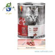 کنسرو گربه بالغ حاوی گوشت خالص گاو (۴۰۰ گرم) یو اس پت (Uspet Cans Cat Beef Pur 400gr)