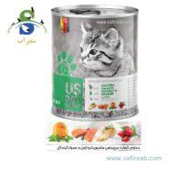 کنسرو گربه بالغ حاوی گوشت مرغ، سالمون، کدوتنبل و گرده گل (۴۰۰ گرم) یو اس پت (Uspet