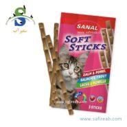 تشویقی مدادی نرم گربه حاوی ماهی سالمون و ماهی قزل آلا سانال (Sanal Cat Softsticks Salmon & Trout