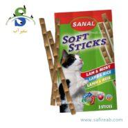 تشویقی مدادی نرم گربه حاوی گوشت بره و برنج (۳۵ گرم،۳ عددی) سانال (Sanal Cat Softsticks Lamb & Rice 35gr)