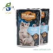 پوچ (سوپ) گربه حاوی ماهی سالمون (۸۵ گرم) میتونه (Mitonne Fillets for cats with salmon 85gr)