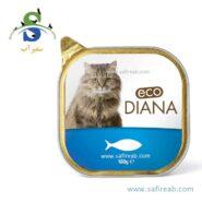 کنسرو کاسه ای گربه بالغ حاوی گوشت ماهی سالمون (۱۰۰ گرم) دیانا (Diana Cat food with fish 100gr)