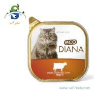 کنسرو کاسه ای گربه بالغ حاوی گوشت گوساله (۱۰۰ گرم) دیانا (Diana Cat food with Beef 100gr)
