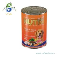 کنسرو سگ حاوی گوشت قرمز و مرغ (۴۵۰ گرم) نوتری پت (Nutri Pet Dog Chunk in Gravy Chicken & Beef 450gr)