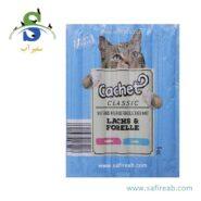 تشویقی مدادی گربه با طعم ماهی آزاد و قزل آلا (۱۰ عددی) کچت (Cachet Classic Lachs & Forelle 50gr)