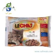 مولتی پک پوچ مخصوص گربه بالغ در ۴ طعم (۴ عدد ۱۰۰ گرمی) لیچت (Lechat Multipack Pouch