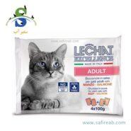 مولتی پک پوچ گربه بالغ با طعم بیف و ماهی سالمون لیچت (Lechat Multipack Pouch Adult