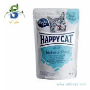 پوچ گربه حاوی گوشت مرغ و ماهی قزل آلا (۸۵ گرم) هپی کت (Happy Cat POUCH Chicken & Trout 85gr)