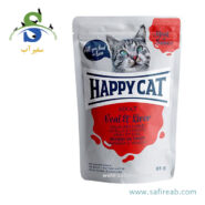 پوچ گربه حاوی گوشت گاو و جگر (۸۵ گرم) هپی کت (Happy Cat POUCH KALB & LEBER 85gr) 2