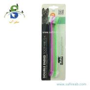 مسواک دو طرفه سگ و گربه (دو عددی) ام پت (M-PETSDouble Ended toothbrush 2pcs) 1