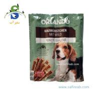 تشویقی مدادی سگ با طعم گوشت شکار (۸ عددی) اورلاندو (Orlando kauwürstchen mit wild 88gr) 2