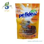 غذای تشویقی سگ مدل نواری با طعم گوشت گوساله (۱۰۰ گرم) پتی دیل (Petideal Beef Strips 100g)