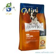 غذای خشک سوپر پرمیوم مدیترانه ای سگ حاوی گوشت سالمون و اردک (۴ کیلوگرم) هپی داگ (Happy Dog Mini Toscana 4kg)